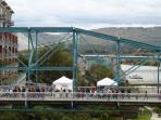 View of Walnut St Bridge taken from Hunter Museum of Art