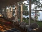 Screened porch offering full views of the Neuse River