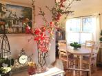 Spring decor in living/dining rooms.