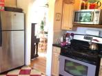 Stainless steel appliances throughout kitchen.