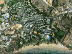 Googlr Earth view of the area.  The villa is under the yellow pin marker