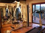 Fully Equipped Gym with weight machine and treadmill.