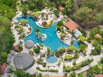 Aerial view of the turtle shaped pool