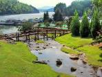 Come play in the creek that feeds into Lake Lure- BBQ grills and picnic tables located here too!
