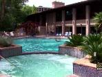Outdoor pool and jacuzzi