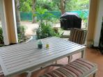 Table and chairs in gazebo.
