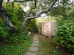 Path to outdoor shower and down to beach