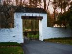 Historical stone and timber entrance circa 1880. The entry Gate ensures privacy and security.