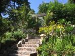 trap en muur van zwembad
