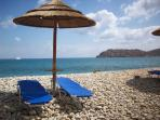 Plaka local beach overlooking Spinalonga