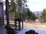 Water and woods back yard.  Back yard, patio, BBQ.  Cedar chairs.