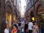 Designer shopping on the Via Fillungo in Lucca