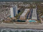 Oceanfront Resort --view of Resort from ocean. Building B in middle