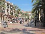 Plaza with numerous very good restaurants and bars, only a 15 minute walk away.