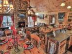 Kitchen, dining room, and living room open floor plan.
