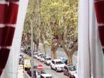 Dining room: sightseeing of Viale delle Milizie from the window.
