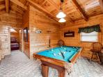 Pool Table in loft of Cabin