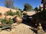 Well kept  garden for a peaceful and relaxing time under the Sonoran desert sun.