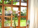 view into the garden