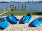Kayaks and paddle boards to explore the water!