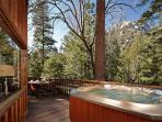 Relax & unwind with a refreshing dip into the spa, Listen to the seasonal creek below the deck