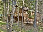 Nestled in the middle of tall pines, this cabin is walking distance into town.