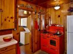 Fully equipped kitchen with Vintage red Rachael Ray stove