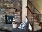 Nice fireplace in family room.