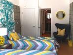 The remodeled casita with two twin beds.