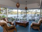 Undercover deck off main living area with river views
