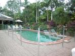 Pool looking across to lush garden plantings