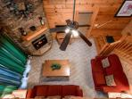 Looking Down into lIving area of Cabin