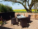 Kingfisher: garden with Rattan furniture for al-fresco dining