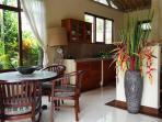 granite kitchen and elegant dining