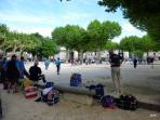 Place du champ de mars à Jaujac