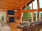Upper Level Living Room, Fireplace, Wide Double Leather Recliner, Beautiful Views!