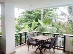 Balcony overlooking poolside