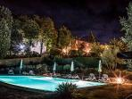 Pool & villa at night