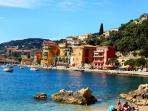 View of Villefranche from the beach, just a few minutes walk down from Villefranche Vista