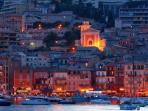 The Old Town of Villefranche....lit up like a magical fairytale at night