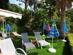 Grassed area in garden for sunbathing