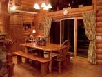 dinning room...hand made rustic table and benches.