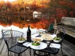 Perfect autumn day for a picnic at the dock