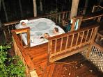 Jacuzzi brand hot tub.  Be sure to try all the seats - jets are different at each one.