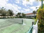 The tennis court is one of the free on-site amenities. We have also provided two rackets and balls.