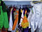 We have a large dress-up wardrobe for ages from pre-teen down to babies, including Disney characters