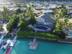 Aerial photo of the Honolulu Waterfront Villa , the private pool and dock.