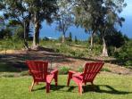 Big grass yard with views down over the coffee/macadamia tree farm to the sea.