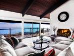 Main level living room with Catalina ocean views