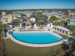 Aerial view of Amenity Center with infinity pool, hot tub, exercise room